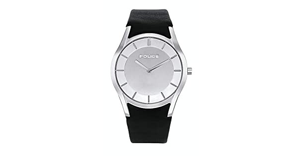 BLACK LEATHER GREY DIAL WATCH POLICE