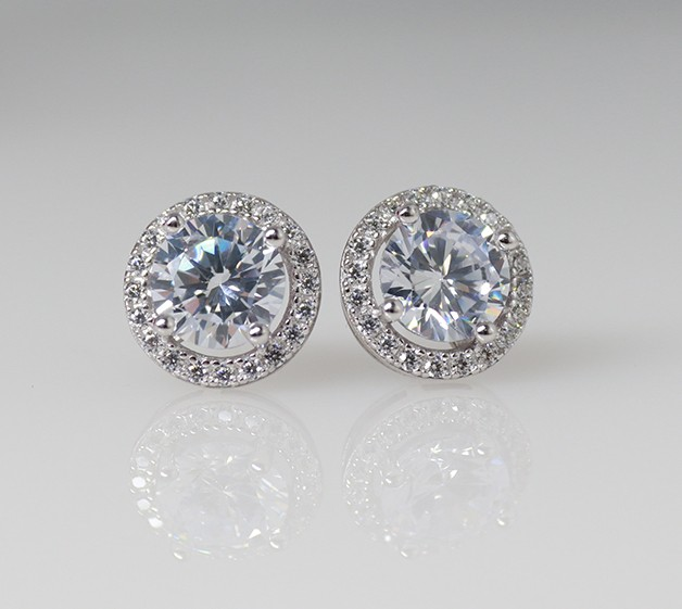 925 Halo Earrings with Cubic Zirconia
