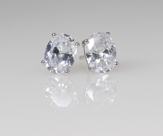 925 Oval Earrings with cubic