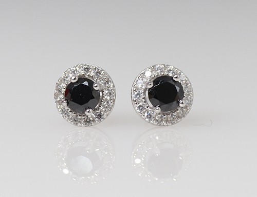 Halo earrings with Black Stone centre