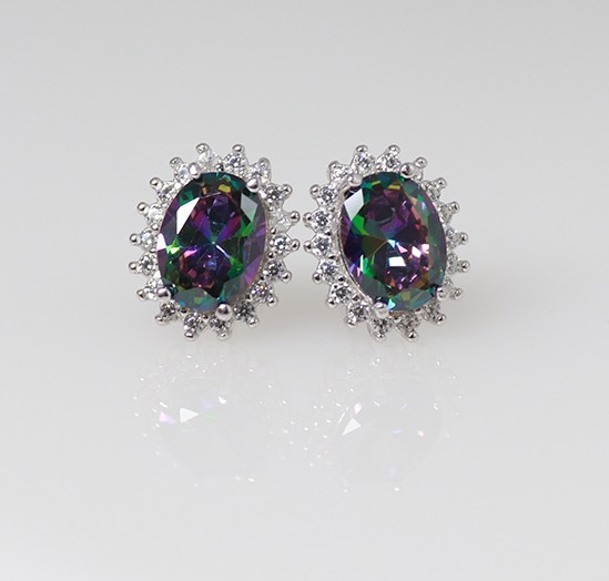 Silver Earrings with Mystic Topaz