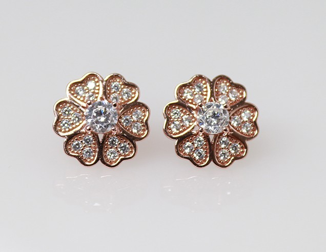 Silver Earrings - Rosegold plated