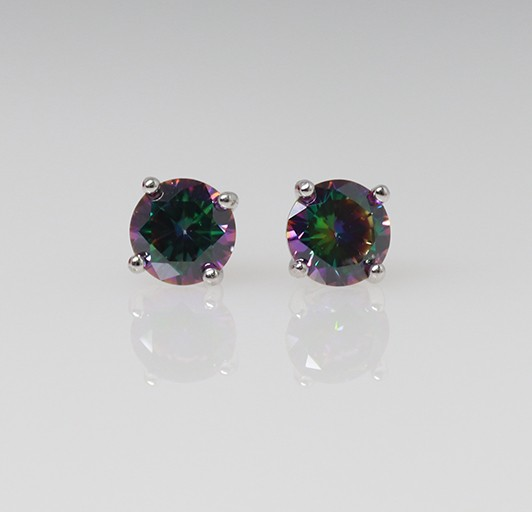 silver stud earrings - round semi precious stone