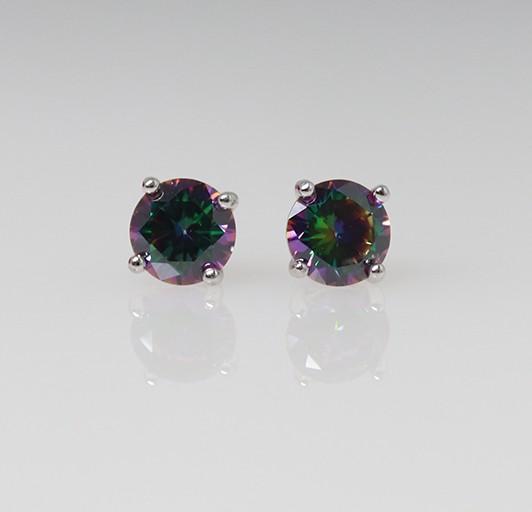 silver stud earrings - round semi precious stone