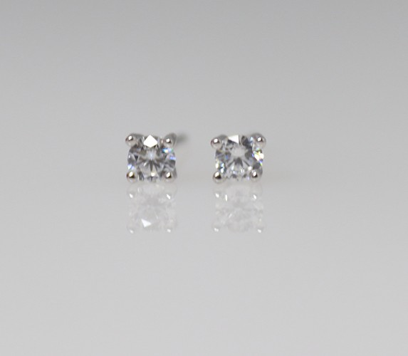 Silver Cubic Stud Earrings - 2mm