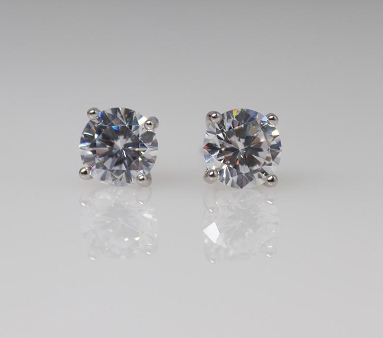 10mm round silver stud earrings