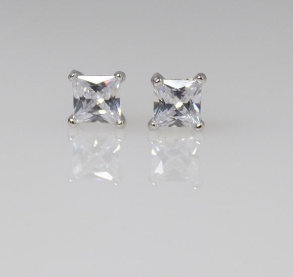 4mm silver cubic earrings - square