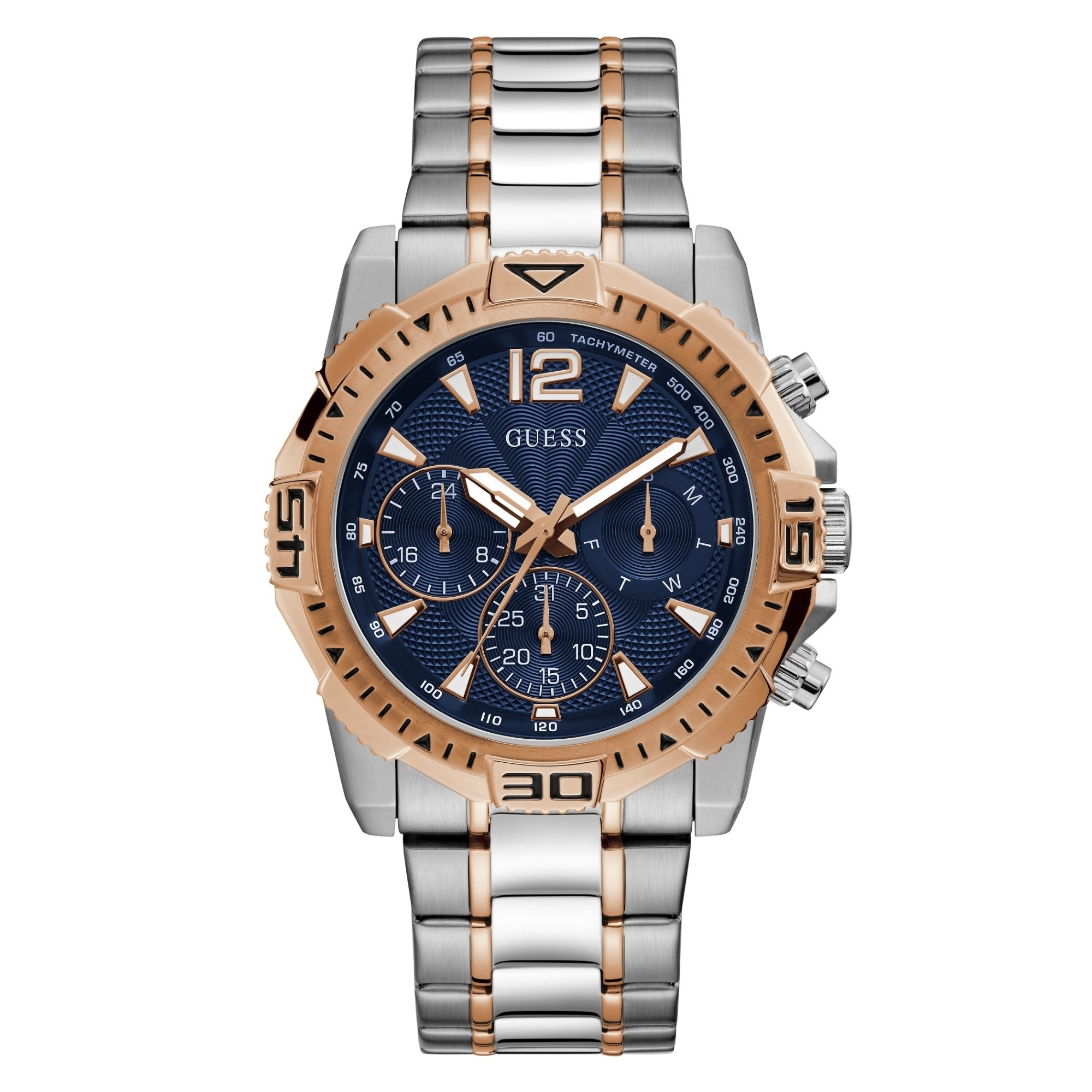Guess Commander Mens Sport Silver/Rose Gold Multi-function GW0056G5