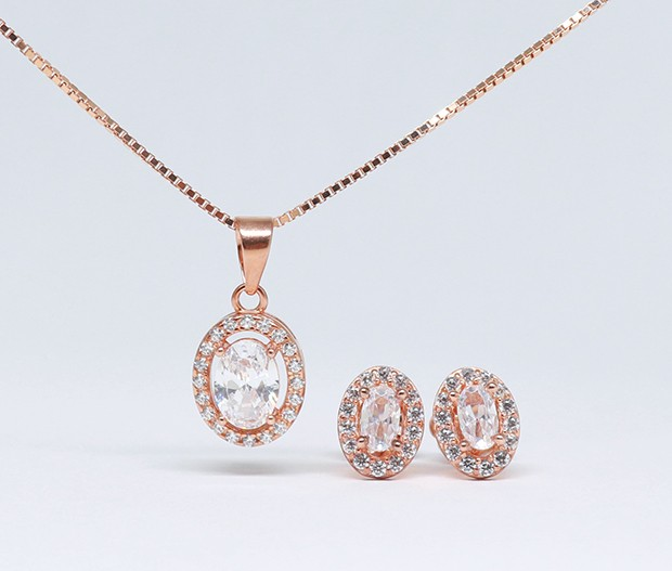 925 Rose gold plated Oval halo