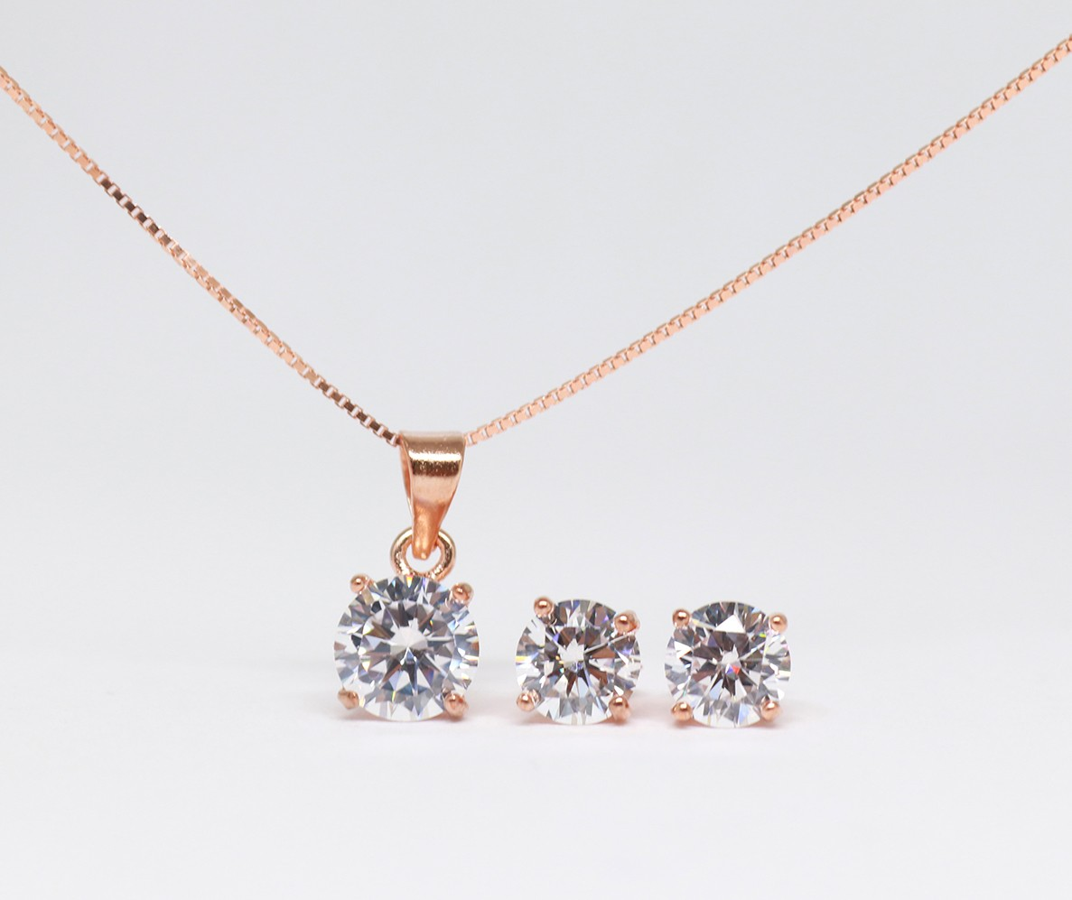 925 Rosegold plated set with cubics