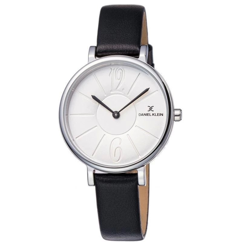 Ladies black leather, grey dial