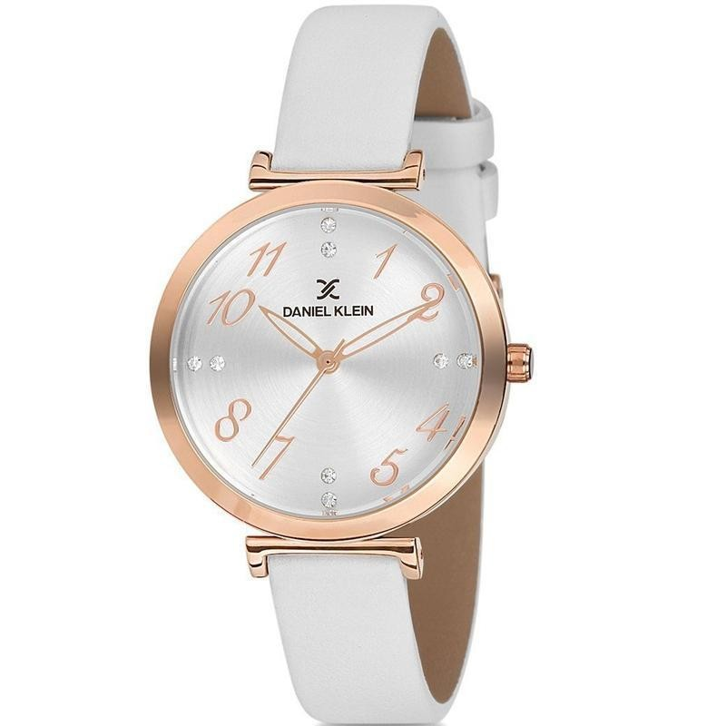 Ladies white leather grey dial