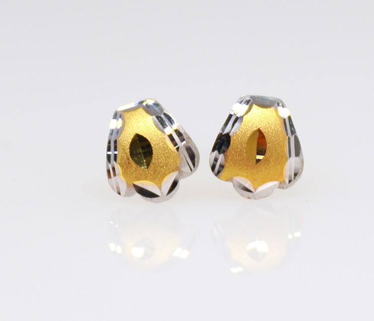 9ct yellow gold drop flower matt finish earrings