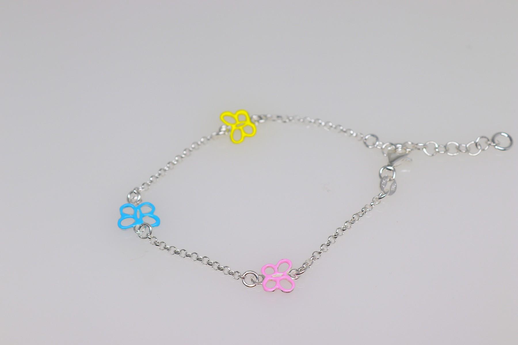 silver baby bracelet butterflies