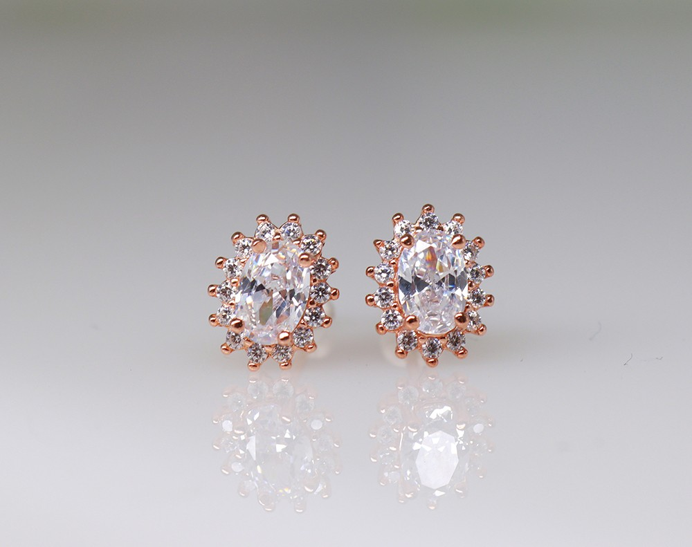 rose plated 925 earrings
