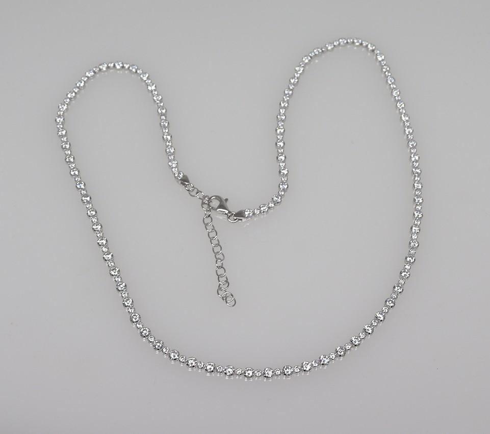 silver tennis necklace