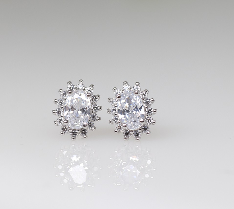 silver 925 halo earrings