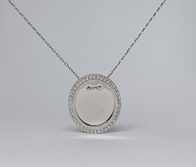 silver disc pendant&chain